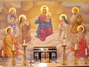 Photo of the tabernacle and altar painting.