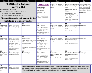 2014 March Lent Calendar png