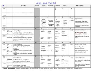 2016-06 June Minister schedule