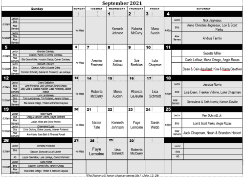 2021-09 September Minister Schedule