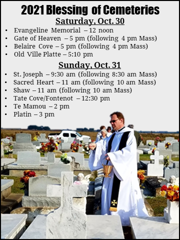 Blessing of Cemeteries 2021 schedule